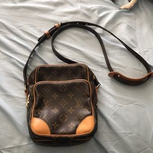 Brown monogrammed Louis Vuitton crossbody bag